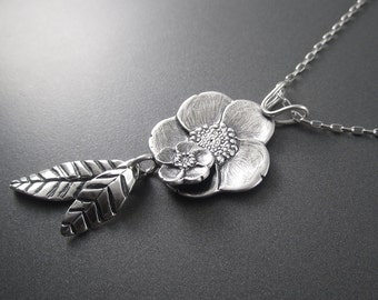 Handmade Buttercup Cluster Sterling Silver Pendant