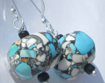 Turquoise and Black Mosaic Magnesite Puffed Oval bead with seed beads pierced dangle hand made wire wrapped  earrings