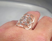 Seed of life ring, Sacred geometry flower of life ring, Big silver ring, Yoga jewelry