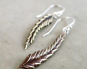 Long Leaf earrings, brass leaves, sterling silver, Nature jewelry