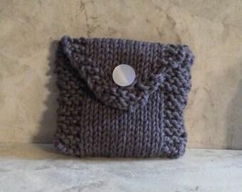 Tea Bag Tote, Tea Bag Wallet, Cotton Handknit, Grey, Gift under 10
