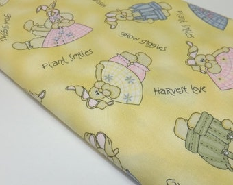 The Hatfields Tenderberry Stitches Bunnys Easter Whimsical Bunnies Pale Yellow Childrens Kids Baby Quilting Sewing Fabric Cotton Textiles