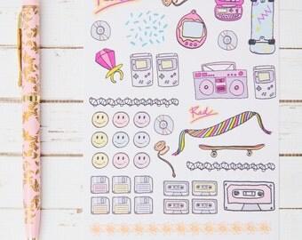 1990's Rad GLOSS Sticker Sheet | For Kikki K, Erin Condren, FiloFax or other Journals and Planners