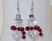 Snowman Earrings, Christmas Earrings, Swarovski Crystal Jewelry, Xmas Earrings Holiday Gift Scarf Dangle Sparkly
