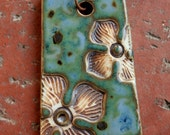 Rustic Flowers on Blue Green Porcelain Pendant 1