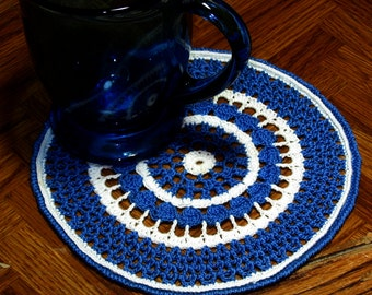 Large Coaster Mat or Small Doily - Set of 2 - Blue and White Design - Handmade Thread Crochet Art Decor