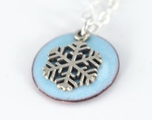 """Enamel Snowflake Charm Necklace - 3/4"""" Hand Enameled Round Pendant, Snowflake Charm, Sterling Silver Necklace"""