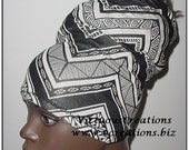 HeadBand-HeadTube-Natural Hair Accessories-Black & White Chevron-ZigZag-Dreadlocks