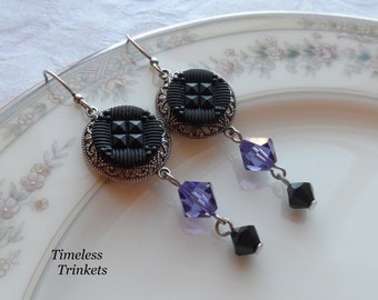 Antique Glass Button Earrings- Black Geometric Design with Purple Swarovski Crystal
