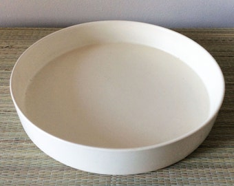 "s a l e   Bauer 10"" Round Low Flower Bowl for Ikebana matte white ivory satin"