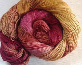 50/50 merino silk hand dyed 4ply yarn Snapdragon 380yds approx
