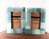 "Denim Blue and Turquoise - Set of Two 4"" x 6"" Reclaimed Book Frames"