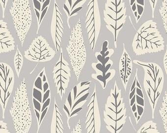 Leaflet Dawn - Hello Bear - Art Gallery Fabrics - HBR-5435 - Bonnie Christine - Woodland Cotton Quilting Fabric - Leaves Fall Gray