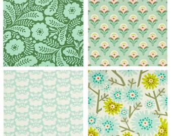 BUNDLE - Clementine - FreeSpirit Fabrics - Heather Bailey - Green Pink Flowers