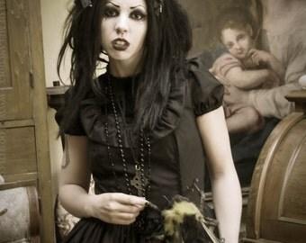 Gloomth Obsidian Gothi Dress with Velvet Crosses Sizes XS-2XL or Custom