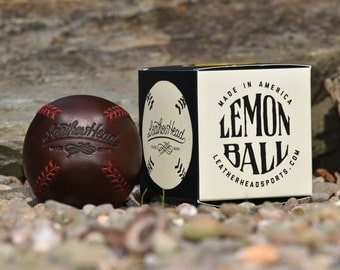 LEMON BALL vintage style baseball,  Brown leather with red stitches, Ball, Sports, Play, Handmade (LB-Cxl-Red)