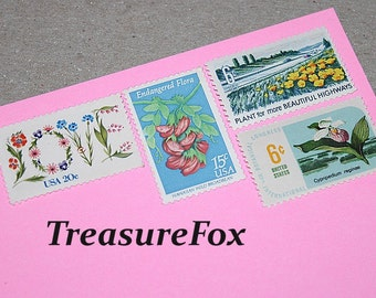 FLORAL LOVE .. Unused Vintage US Postage Stamps .. mail 10 letters Floral themed postage for mailing invitations, save the dates, thank yous