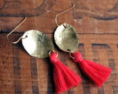 Coral Pink Tassel Earrings, Hammered Brass Drop with Coral Silk Tassel