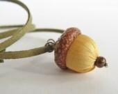 Acorn necklace, yellow silk acorn jewelry, boho jewelry, autumn accessory, fall jewelry piece, long necklace
