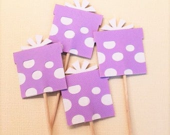 Gift Package Cupcake Topper/Party Picks - Set of 12