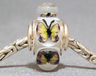 Butterfly Bead Handmade Lampwork Euro Charm Limited Edition Yellow & Black Butterflies