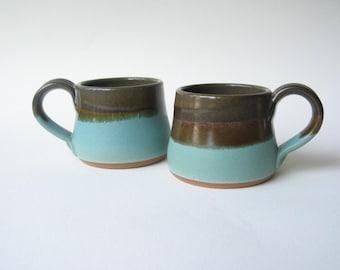 Pottery Espresso Cups Demitasse Set of 2