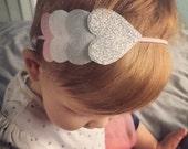 Valentines Day Headband // Felt Heart Headband // Pink Felt Bow Headband // Pink and Silver // Glitter Heart // Pink and Gray // Hair Clip
