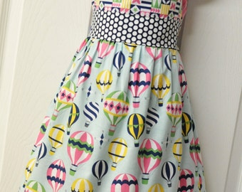 Hot Air Balloon Nelle  Dress - size 5 - Up and Away by Michael Miller- READY TO SHIP!!!