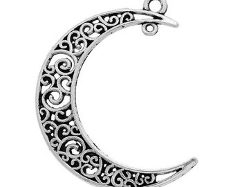 Pendants Hollow Out Moon Antique silver filligree connectors earring findings drop,   metal jewelry supplies  ( K5) quantity 5