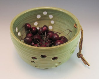 Pottery Berry Bowl / Colander / Fruit Strainer in French Country Green