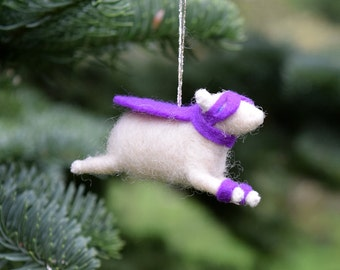 Super Hero Lamb Ornament in Purple - Needle Felted Sheep to the Rescue