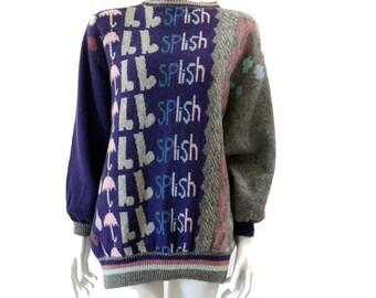 Vintage 80s 90s Novelty Sweater // Wool Sweater // Umbrella Print Knit Sweater//  Warm Winter Fashion//  Women's Ladies Cardigan// 123