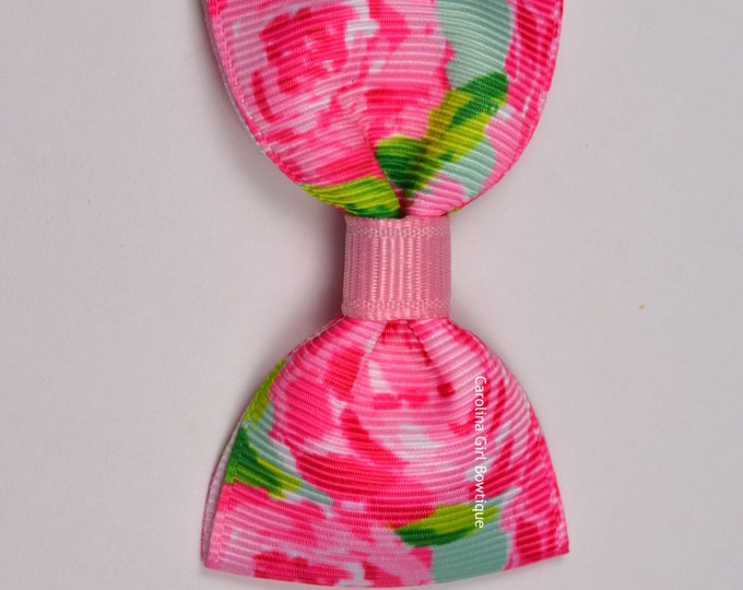 "Hotty Pink First Impression ~ 3"" Hair Bow Tuxedo Bow ~ Lilly Inspired ~ Simple Bow ~ Boutique Bow for Babies Toddlers ~ Girls Hair Bows"