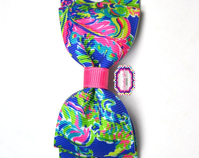 "Toucan Play ~ 3.5"" Hairbow ~ Lilly Inspired ~ Small Hair Bow ~ Girls Barrette ~ Toddler Bow ~ Hair Clip ~ Girls Hair Bow"