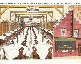 Mader's Famous German Restaurant Milwaukee  Vintage 20's -40's Linen Postcard