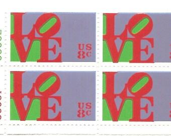 1973 Scott # 1475  Block of 4 - 8 Cent  US Postage Stamp LOVE