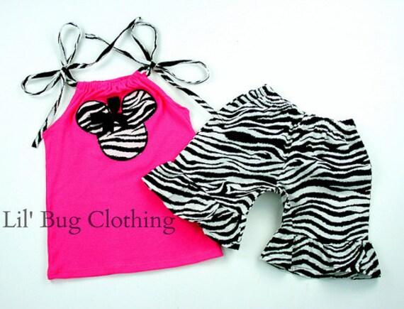 Zebra Minnie Mouse Girl Outfit, Zebra Minnie Mouse Short & Top Summer Girl Outfit, Minnie Mouse Zebra Pink Birthday Party