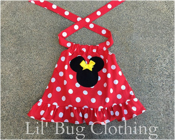 Minnie Mouse A Line Top, Red White Polka Dot Minnie Mouse Top, Red Yellow Minnie Mouse Swing Top