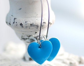 Heart Earrings, Enameled Earrings, Sky Blue Earrings, Romantic Earrings, Dangle Earrings, Blue Wedding, Gunmetal Brass, Simple Earrings
