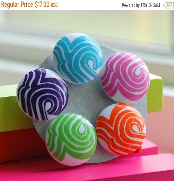 Mod Magnets, Fridge Magnets, Classroom Organizer, Teacher Gift, Retro, Colorful Magnets, Set of 5