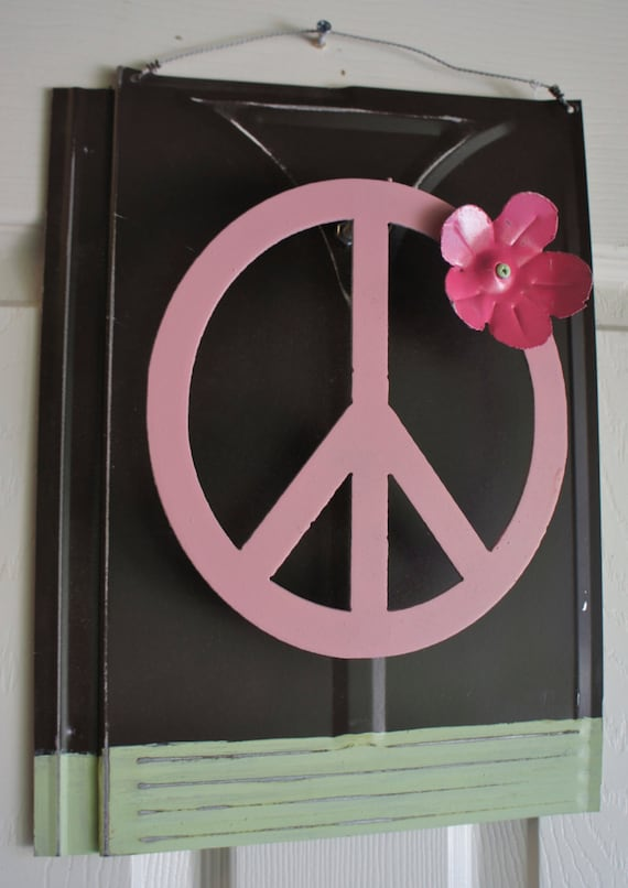 Peace Sign Wall Decor Metal : Metal peace sign with flower wall decor