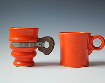 2 Vintage orange coffee cups - Bauer and Fiesta pottery coffee cups - Ringware glazed Los Angeles CA