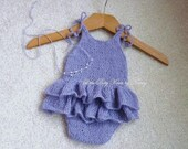 Mohair Romper with Ruffle Bottom,  Newborn Photo Props, Choose Color Size