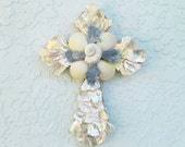 Shell Cross,Abalone and Blue Coral Seashell Crucifix, Pearl Cross, Sea Shell Wall Decor, Religious Christian Gift, Easter Gift,Baby Boy Gift