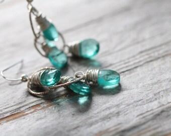 Long Dangle Earrings. Aqua Blue Quartz Sterling Silver Earrings. Wire Wrapped Island Earrings