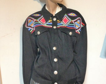 Beaded Jacket Southwestern 80s Size L to XL by Cedars