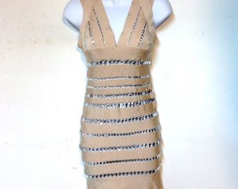 Herve Leger Bandage Dress Body Con Vintage 90s Size XS Halter Dress Mini Dress Rhinestones Strapless