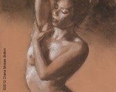 Original charcoal and chalk drawing -- BATHING POSE -- 10 x8  inch nude figure study for bathroom, by Diana Moses Botkin
