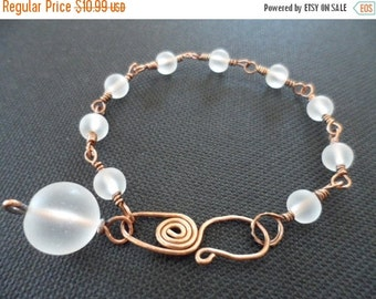 ON-SALE Columbus Day SALE - Elegant White Sea Glass Beads, Wire Wrapped, Oxidized Copper Bracelet - Was 18.99 Now 10.99