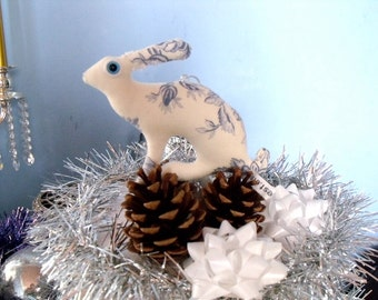tiny Hare toile du jouy ornament plush Soft Sculpture companion bunny rabbit decoration xmas tree ornament decoration blue white
